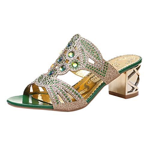 (Women's Fashion Sandals Slippers,Sharemen Bohemian Rhinestones with Heel Shoes, Roman Open Toe Casual Shoes(Green,US: 5.5))