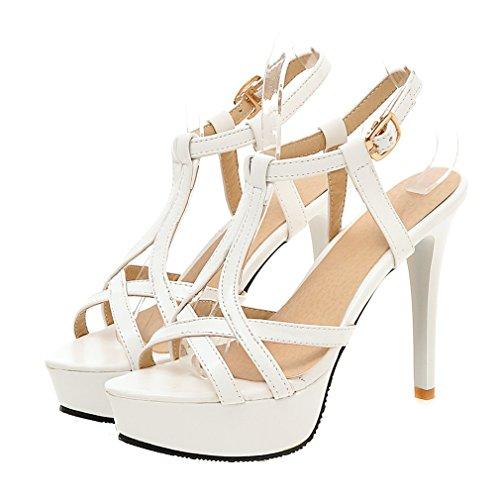 YE Damen T-spangen Offen Stiletto High Heel Plateau Sandalen mit Schnalle Elegant Pumps Schuhe Weiß