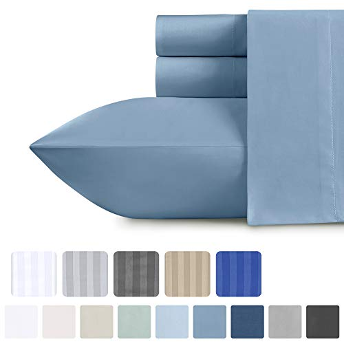 California Design Den Twin-XL Bed Sheets - 100% Natural Cotton Deep Pocket Bedding, Faded Denim 3 Piece Sheet Set, Smooth 500 Thread Count Sateen Weave, Deep Pocket Fits Mattress Upto 17 Inches