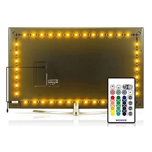 WENICE Bias Lighting for TV 60inch-65inch to 70inch 4/Four Sides, LED Light Strip USB Powered Multi Color Changed RGB Tape for 60'' to 70'' Flat Screen HDTV LCD 24keys Remote Controller by WENICE