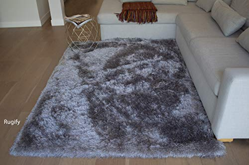 LA Shag Shaggy Fluffy Large Furry Rectangular Solid Patterned Sparkle Plush Fur Large Fuzzy Floor Soft Plain Modern Pile 8-Feet-by-10-Feet Polyester Made Area Rug Carpet Rug Silver Color