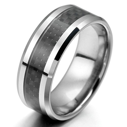 Epinki,Fashion Jewelry Men's Tungsten Carbon Fiber Band Rings Silver Black Comfort Fit Polished Size - Canadian Black Friday Sale