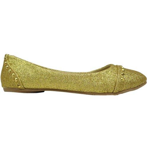 Womens Ballet Flats Glitter En Goud Bezaaid Slip Op Goud