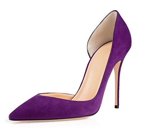Soireelady Women's Pointed Toe High Heel D'orsay Pumps Court Shoes Purple 213Iw5