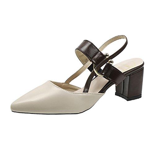 Sandalias de Times 6 Beige 2018 de cm Alto Hyun DE Rainbow Punta para 5 Zapatos Tacón Zapatos Nuevo de Abuela Grueso Femeninos Zapatos Mujeres Tacón EN Punta de vZZqHwp