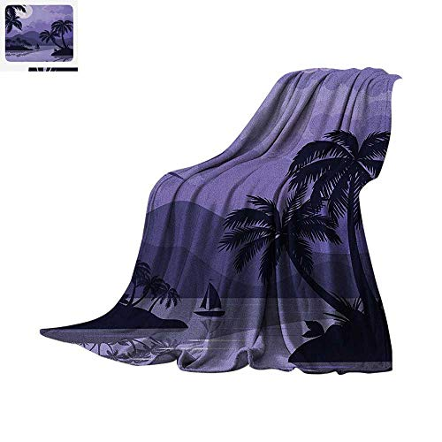 Tropical Warm Microfiber All Season Blanket Caribbean Island Landscape at Night Full Moon Sailboat and Palm Trees Summer Quilt Comforter 60