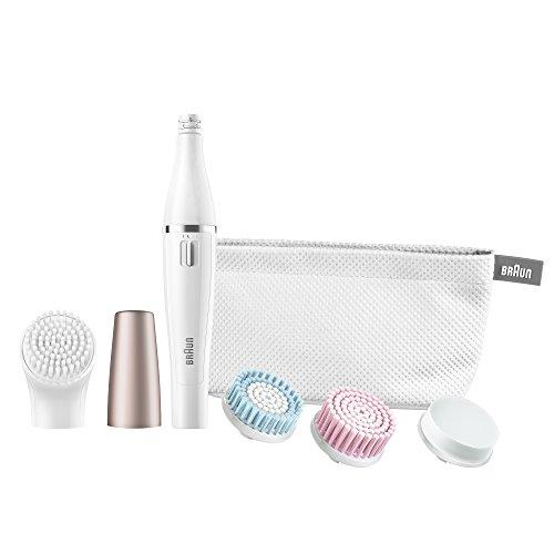 Braun Face 851 Gesichtsepilierer und Gesichtsreinigungsbürste (elektrischer Epilierer fürs Gesicht mit Reinigungsbürste) rotgold/weiß