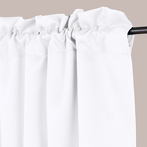 H.VERSAILTEX Privacy Protection Kitchen Valances for Windows Room Darkening Curtain Valances for Bedroom, Rod Pocket Top, 4 Pack, Pure White, 52 x 18 Inch by H.VERSAILTEX (Image #1)'