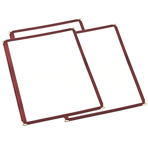 (10 Pack) Single Menu Covers, Dark Red, 8.5 x 11-inches Insert, Two View, Maroon Color Restaurant Menu Covers with Double Stitched Binding and Protective Corners