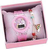 TEHAUX Kids Watches for Girls Cartoon Waterproof LED Digital Luminous Child Wrist Watch Unicorn with Bracelet