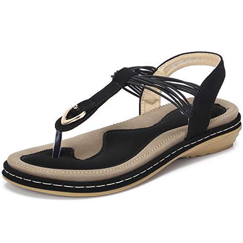(CAMEL CROWN Women Flats Sandals with Metal Rings)
