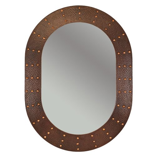 Riveted 35 H x 26 W Hand Hammered Oval Copper Mirror, Wall,