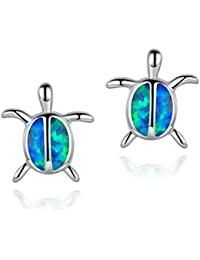 Fire Blue Opal Stud Earrings Turtle Animal Small Cute 18K White Gold Plated Hypoallergenic for Kids Baby Girls