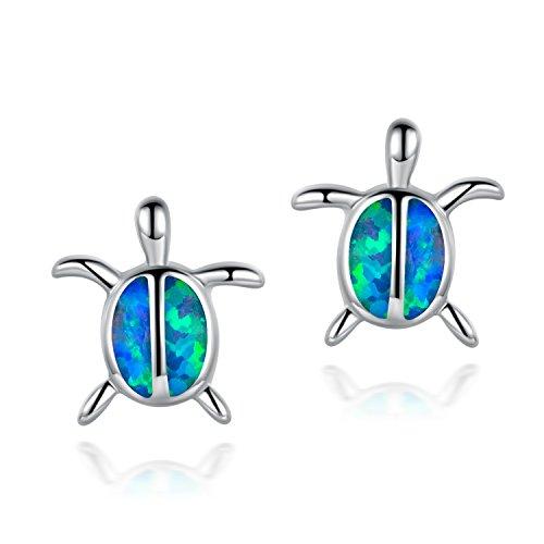 Fire Blue Opal Stud Earrings for Women Turtle Earring Animal Small Cute 18K White Gold Plated Hypoallergenic for Ladies Women