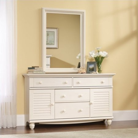 Sauder Harbor View Dresser, 4 drawers with metal runners and safety stops (White Antiqued)