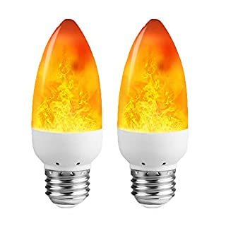 LEDERA LED Flame Light Bulb (2 Pack), E26 LED Flickering Flame Effect Light, 1300K Emulation Candelabra Bulb for Decoration
