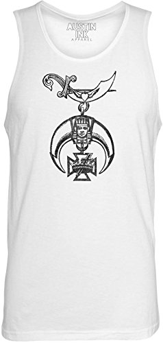 Austin Ink Apparel Old Emblem Printed Unisex Jersey Tank Top, White, - Dagger S-ai