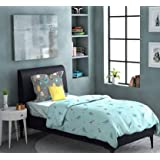 Dreamline Out of The Box Sky Blue Printed Single Bedsheet with 1 Pillow Cover Set (DSN-3001)