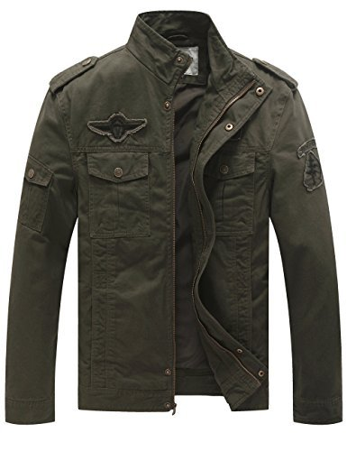 WenVen Men's Fashion Cotton Jackets (Military Green, US Size L) by WenVen