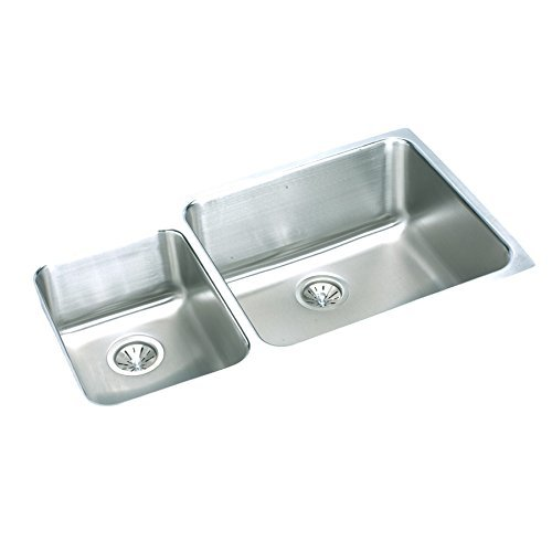 Elkay Lustertone ELUH3520L Offset 40/60 Double Bowl Undermount Stainless Steel Kitchen (Elkay Lustertone Double Bowl Sink)