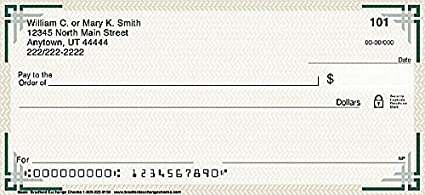 Top Tear Printed Personal Checks with Subtle Background and Accented Corner Borders| Basic Check The Bradford Exchange Personal Checks 1 Scene 2 Box Checks Personal Duplicates // 200 Checks
