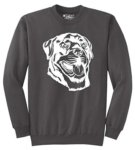 - Men's Crewneck Sweatshirt Rottweiler Dog Face Graphic Charcoal M