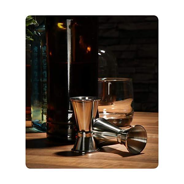 com-four® 2x misurino in acciaio inossidabile - Bar per alcolici e cocktail - Misurino per bar e cucina - Misurazione e dosaggio (Misurino - 02 pezzi) 3 spesavip