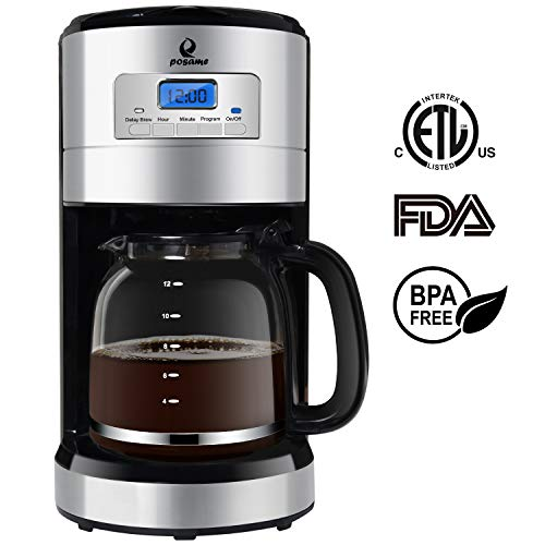 Posame Thermal Automatic Programmable Coffeemaker, 24 Hours Brew Timer, LED Digital Screen, 12-Cup Glass Carafe, Removable Mesh Filter Basket, Black/Stainless Steel ()
