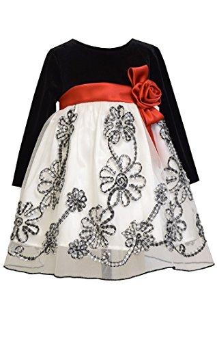 Velvet Satin Holiday Dress (Bonnie Baby Long Sleeve Stretch Velvet Party Dress, Black/White, 24 Months)