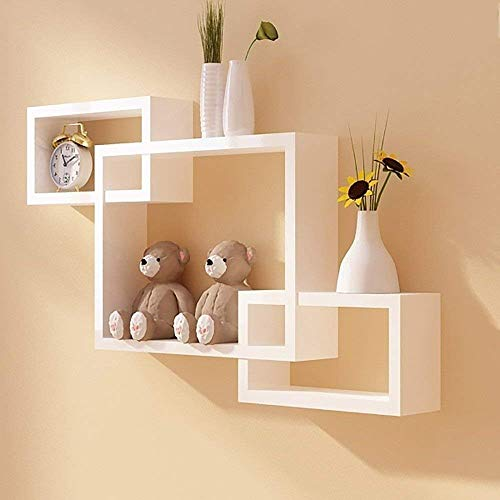 Wood Art India MDF Intersecting Wall Mounted Shelf for Living Room Home Decor Floating Shelves   Set of 3, White…