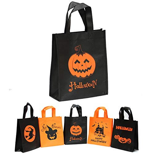 Non-woven Reusable Tote Bags, Heavy Duty Non-woven Polypropylene, Small Gift Tote Bag, Book Bag, Non Woven Bag Multipurpose Happy Halloween Trick or Treat Candy Bag (Halloween Special, Set of -