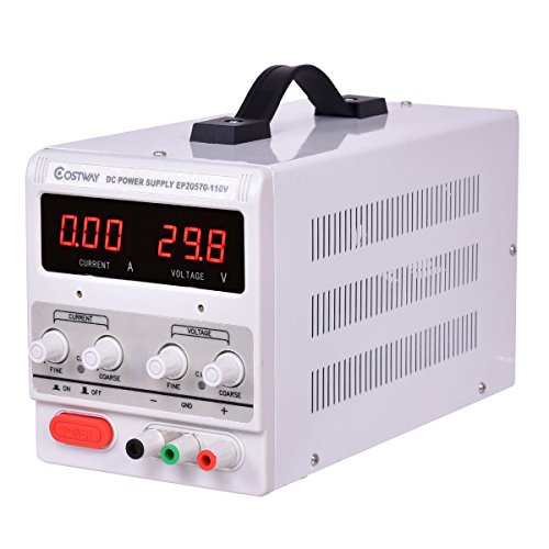 Giantex Adjustable Power Supply 30V 5A 110V Precision Variable DC Digital Lab w/clip (Clips 110 Video)