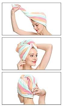 Rainbow Paquete de 2-10x 25 // 25 x 65 cm Envoltura de Toalla de Secado r/ápido para el Cabello Txyk Envoltura de Turbante para el Cabello de Microfibra Absorbente Super Turbante