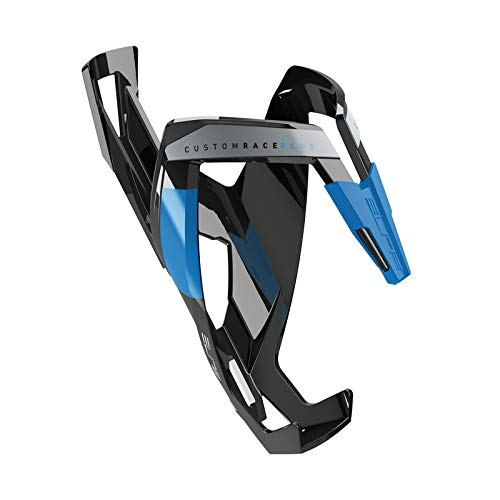 (Elite Custom Race Plus Bicycle Water Bottle Cage (Black Glossy; Blue Graphic))