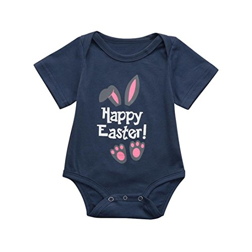 kaifongfu Newborn Jumpsuit, Baby Boys Girls Romper Happy Easter Letter Cartoon Rabbit Print Jumpsuit Outfit (100❦❦Size:18M, Navy) from kaifongfu