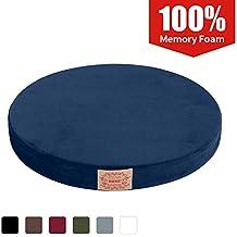 "Shinnwa Polyester Supper Soft Cushion Round MemoryFoam Seat Cushion Short Plush LumbarSupportPillow Home Office Chair Pad Blue 16"""