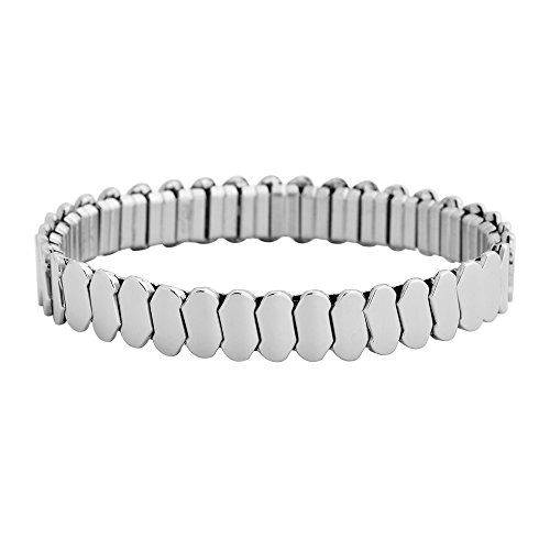 (Edforce Stainless Steel Unisex Universal Fit Stretch Link Bracelet, 6-8.5