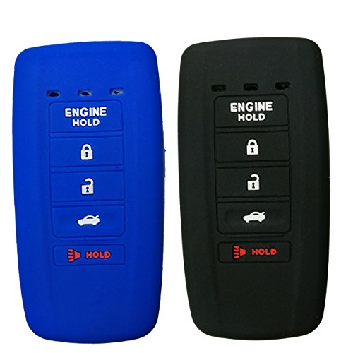 2Pcs Coolbestda Rubber Smart Key Fob Full Cover Case Skin Jacket Remote Shell Protector for Acura MDX RDX RLX ILX TLX KR537924100 5 Buttons Key Black Blue