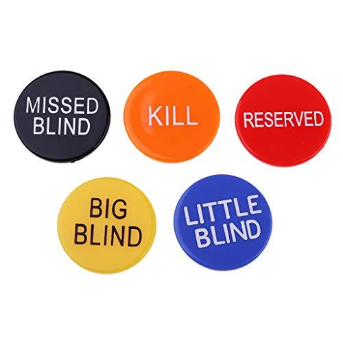 Prettyia 5Pcs 3cm/1.18'' Round Dealer Buttons for Pub Club Texas Poker Card Game Accs