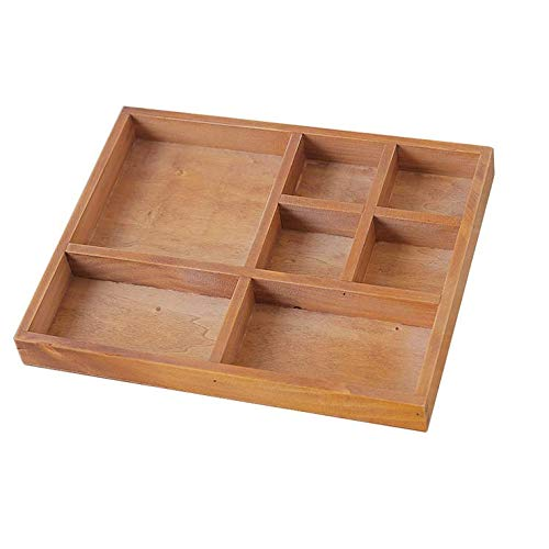 Chris.W Wood 7 Compartment Organizer Tray for Office Desk Dresser Top, Drawer Organizer for Makeups, Coesmtics, Glasses or Any Office Supplies