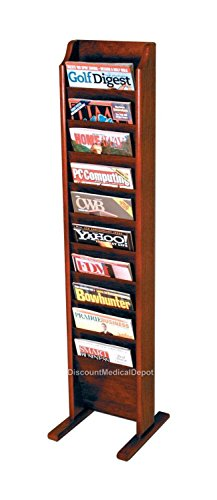 DMD Free Standing Magazine Rack, 10 Pocket, Mahogany Wood Finish by Discount Medical Depot LLC