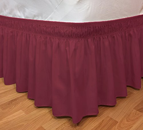 Elegant Elastic Ruffle Bed Skirt Easy Warp Around King/Queen Size Bed Skirt Pins Included, (Burgundy)