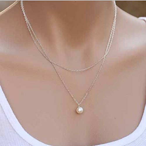 (SOURBAN Fashion Two Layer Circle Necklaces Long Pearl Pendants Necklaces Silver)