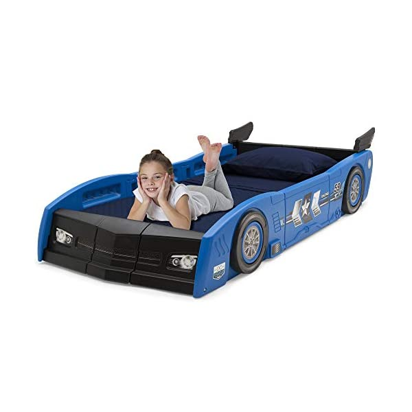 Delta Children Grand Prix Race Car Toddler and Twin Bed, Blue 4