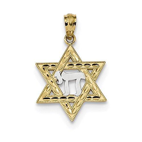 Lex & Lu 14k Yellow Gold w/Rhodium Star of David w/Chai Pendant-Prime