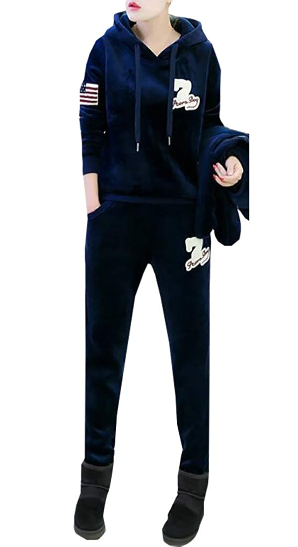 2 Esast Womens Long Sleeve Velvet Tracksuits SetSweatshirt Vest Pant 3 Piece Set