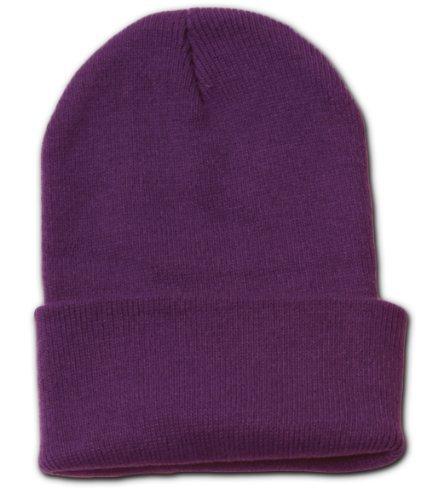 Purple Long Beanie (Blank Long Cuff Beanie Cap,)