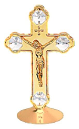 Swarovski Crystal Crucifix - 24K Gold Plated Crucifix Free Standing - Clear - Swarovski Crystal