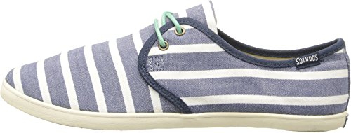 Soludos Women's Sand Shoe Lace Up Woven Classic Stripe Light Navy White Sneaker 9 B (M)