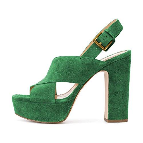 Las compras en línea Venta 100% auténtica Plataforma Peep Toe Sandalias Del Slingback De Las Mujeres Ydn Grueso Tacón Alto Bombea Correas Cruzadas Zapatos Elegantes Verdes Outlet The Baratoest Costo de descuento hM2JVa